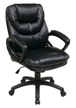 Office Star Faux Leather Manager's Chair with Padded Arms, Black - $102.37