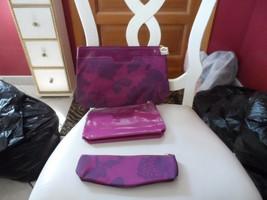 Estee Lauder 3 piece burgundy floral cosmetic set - new - $12.00