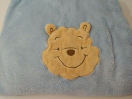 Disney Winnie the Pooh head face #D ears  blue baby blanket  - $19.79