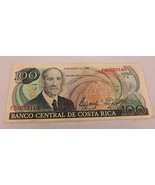 1990 Costa Rica Banknote 100 Colones Serie F Paper Money Currency - $20.00