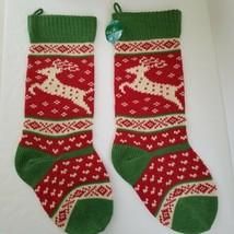 Kurt S Adler Two Christmas Stockings Red White Green Knit Wall Hanging D... - $21.50