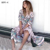 Women's New Boho Floral Print Long Maxi Beach Sundress image 10
