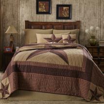 LANDON 3-pc Queen - Quilt Shams Set - Khaki/Barn Red/Brown - VHC Brands