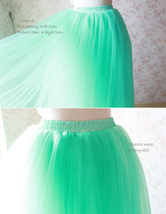 Mint Green Long Tulle Skirt High Waisted 4-Layered Puffy Tutu Skirt Outfit image 4