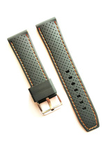 22mm Silicone Rubber Watch Strap with Orange Stitching Stainless Stell B... - $15.99
