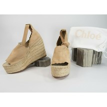 Chloé Lauren Reef Shell Suede Espadrille Wedge Heels Sandals Size 40 10 NIB - $295.52