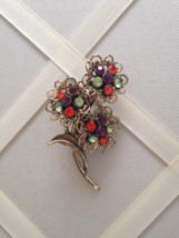 Vintage Orange Purple Green Crystal Rhinestone Flower Cluster Fashion Brooch - $25.00
