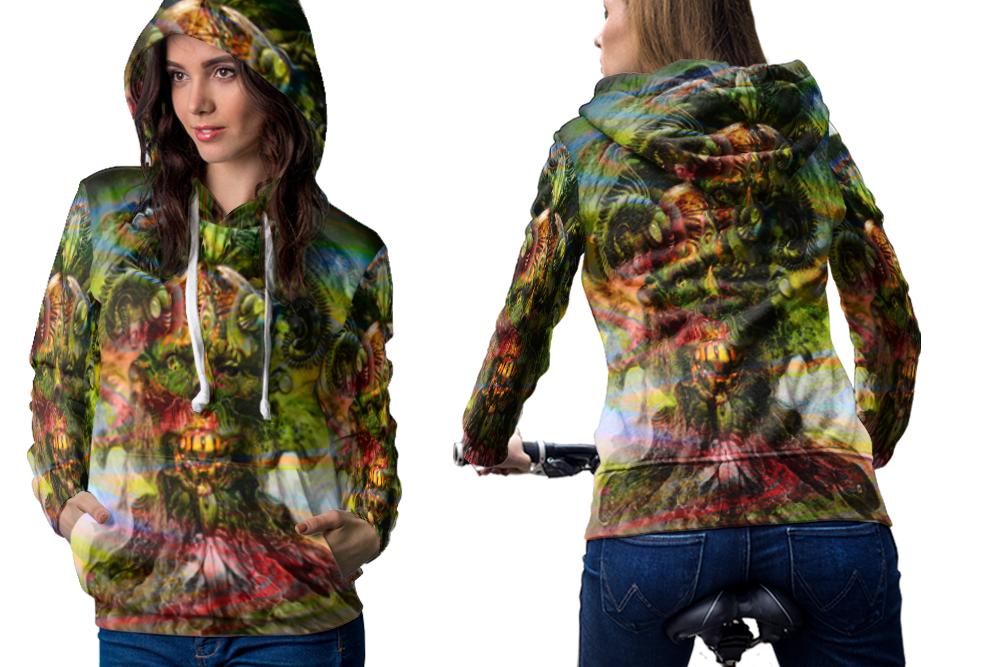 Psychedelic face zombi dmt hoodie women