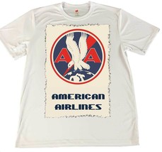 American Airlines Old Design White Wicking T-Shirt w American Flag Car C... - $14.80+