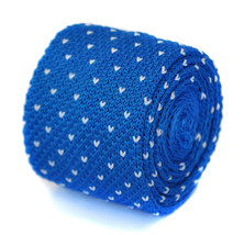 Frederick Thomas skinny bleu roi vif et blanc Broche Cravate en maille f... - $24.38
