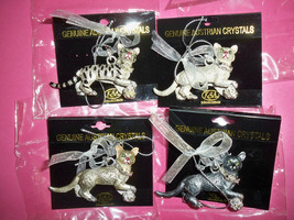 4 Cats Austrian Crystals KSA Collectibles Holiday Ornaments Metal New pa... - $35.00