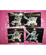 4 Cats Austrian Crystals KSA Collectibles Holiday Ornaments Metal New package - $35.00