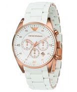 Emporio Armani AR5919 Sport White and Rose Gold Chronograph Mens Watch - $99.90+