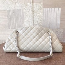 Authentic Chanel Black Bowling Bag White Quilted Patent Leather Silver HW image 2