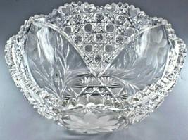 American Brilliant Period Cut Glass Extra Large Bowl Dish w Flower Decor... - $299.00