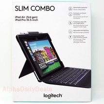 "Logitech Slim Combo Keyboard Case Bluetooth Backlit iPad Pro 10.5"" Air 3... - $89.95"