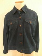 TALBOTS Petites Size PM 8P 10P Dk Blue Denim Jeans Jacket EUC Free US Ship - $21.55