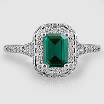 White Gold Plated Solitaire With Accents Ring Rectangular Shape Green Sa... - $79.65