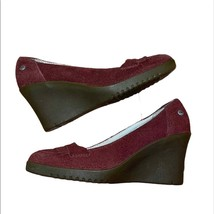 UGG suede shearling wedge moccasins red/rust 7 - $100.00
