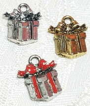 WRAPPED GIFT BOX FINE PEWTER PENDANT CHARM - 13mm L x 15mm W x 3mm D