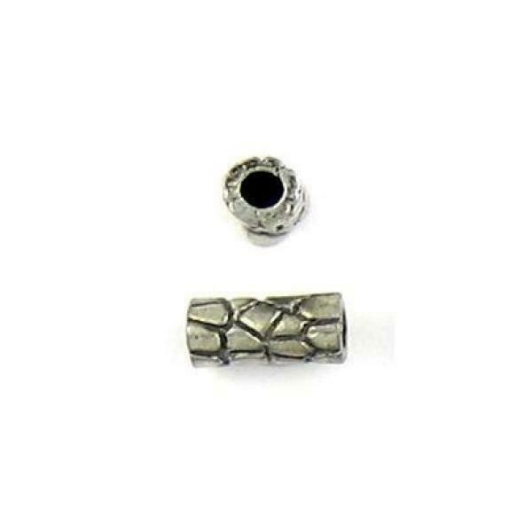 MOSAIC PATTERN FINE PEWTER CAST TUBE SPACER BEAD - 10x5x5mm; Hole 2mm
