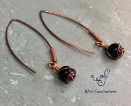 Handmade copper earrings: large leaf hoops wire wrapped blue goldstone d... - $25.00