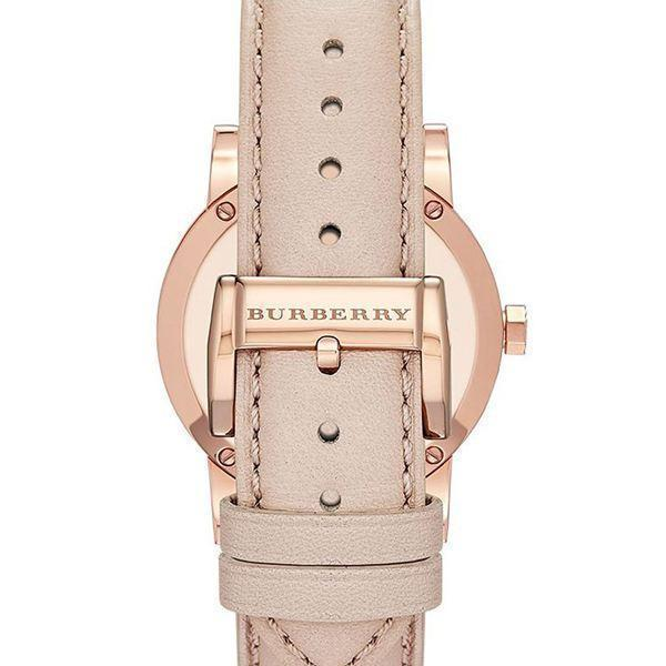 Authentic Burberry Watch BU9014 City Check Stamped Round Dial Nude Leather image 4