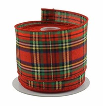 "Tartan Plaid Red & Green Christmas Ribbon - 2.5"" X 10 Yd Cut - $21.37"