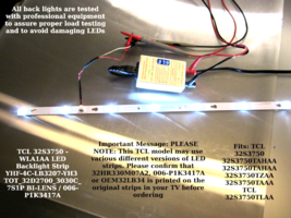 "TCL 32S3750 - WLA1AA LED Backlight Strip YHF-4C-LB3207-YH3 Length 21-9/16"" 548mm - $14.95"