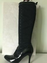 WOW Rare LOUIS VUITTON black satin monogram knee high boots 36.5 UK 4 £1,395 - $383.41