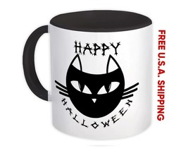 Black Cat Halloween : Gift Mug Fall Kitten Decoration Cute Face - $17.50