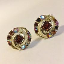 Caro Clip-on Earrings Amber Brown Rhinestones Silver Tone Metal Vintage  - $25.00
