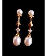 Genuine 10 DIAMONDs pearl Earrings / 14kt yellow GOLD / pearl earrings /... - $575.00