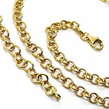 18K YELLOW GOLD CHAIN 19.70 IN, ROUND CIRCLE ROLO LINK DIAMETER 4 MM MADE ITALY image 4
