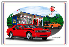Dodge Challenger Red Garage Art Metal Sign By Rudy Edwards  12x18 - $25.74