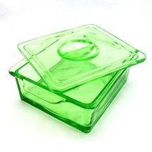 Hazel Atlas Trinket Box Depression Glass Vintage 1940s w/ Recessed Finge... - $64.95