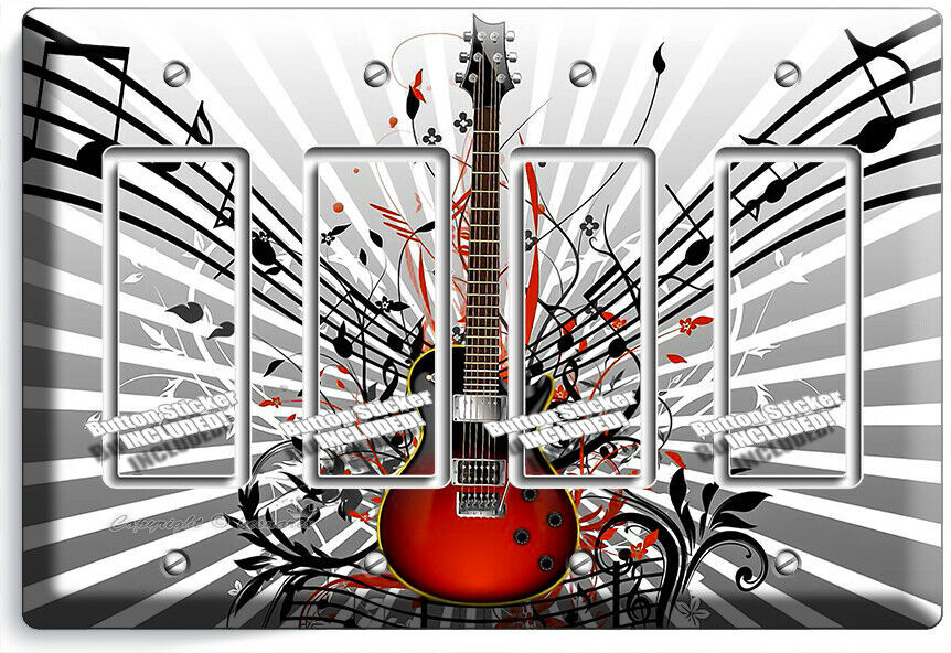 RED ELECTRIC GUITAR NOTES 4 GFCI LIGHT SWITCH WALL PLATE MUSIC STUDIO ROOM DECOR