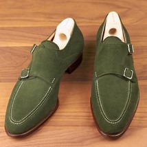 Handmade Men's Green Suede Double Monk Dress/Formal Shoes image 1