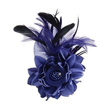 Ladies Retro Pin Brooches Hair Decor Feather And Cloth Flower Brooches, Blue - $13.63