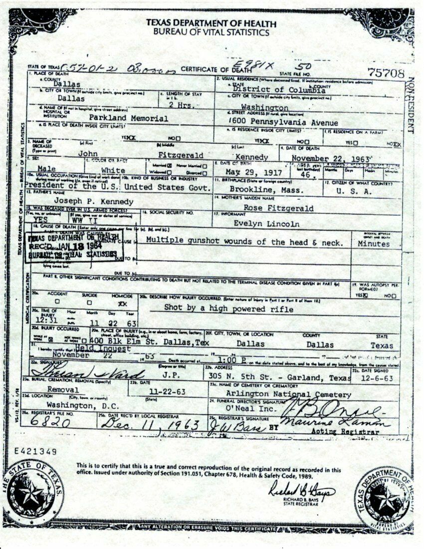 Primary image for JFK Death Certificate Reproduction