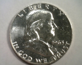 1963-D FRANKLIN HALF UNCIRCULATED UNC. NICE ORIGINAL COIN BOBS COIN FAST... - $16.00