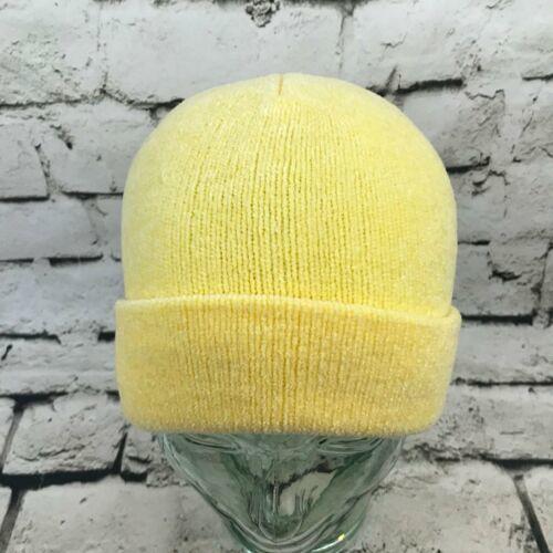 Dorfman Pacific OSFA Hat Yellow Stretch Knit Soft Velour Roll-Up Beanie Warm Cap