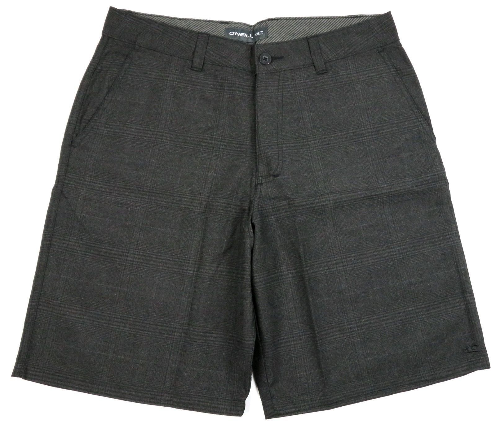 O'Neill Men's Shorts Flat Front Short Fine Black Plaid