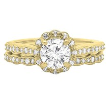 Beautiful Round White Cut Diamond 14K Yellow Gold Fn Bridal Engagement Ring Set - $95.99