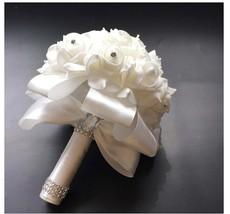 White Wedding Bouquet White Bridesmaid Bouquet Bridal Bouquet Crystals R... - $21.99