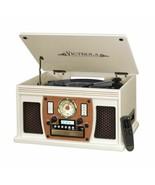 White Entertainment Center AM/FM Radio CD Player Turntable Bluetooth Vin... - $170.18