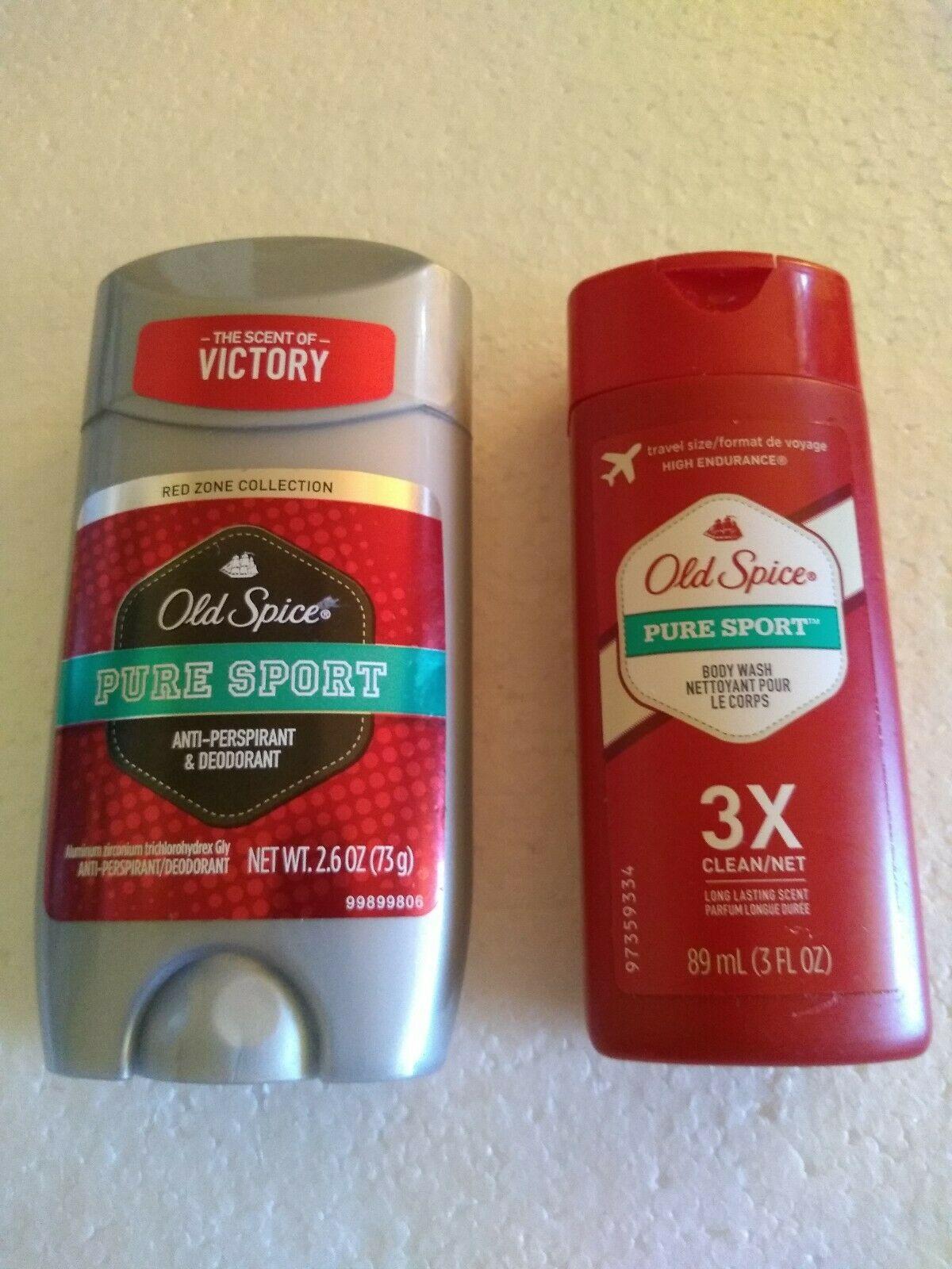 Old Spice Pure Sport  Deodorant Red Zone 26 Oz + Travel Size 3X Bodywash 2 PC