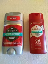 Old Spice Pure Sport  Deodorant Red Zone 26 Oz + Travel Size 3X Bodywash... - $9.95