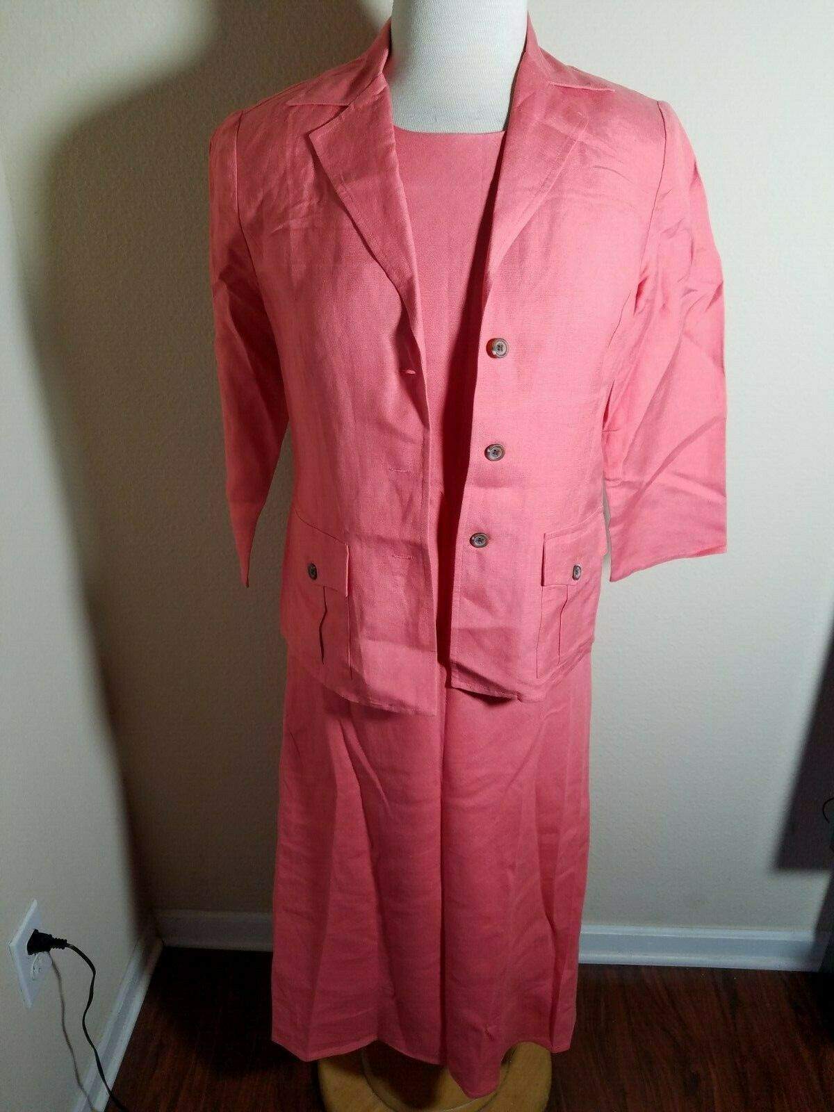 Talbots Petites Women's Dress Set Linen Blend Pink Sleeveless Maxi & Jacket 4 image 2