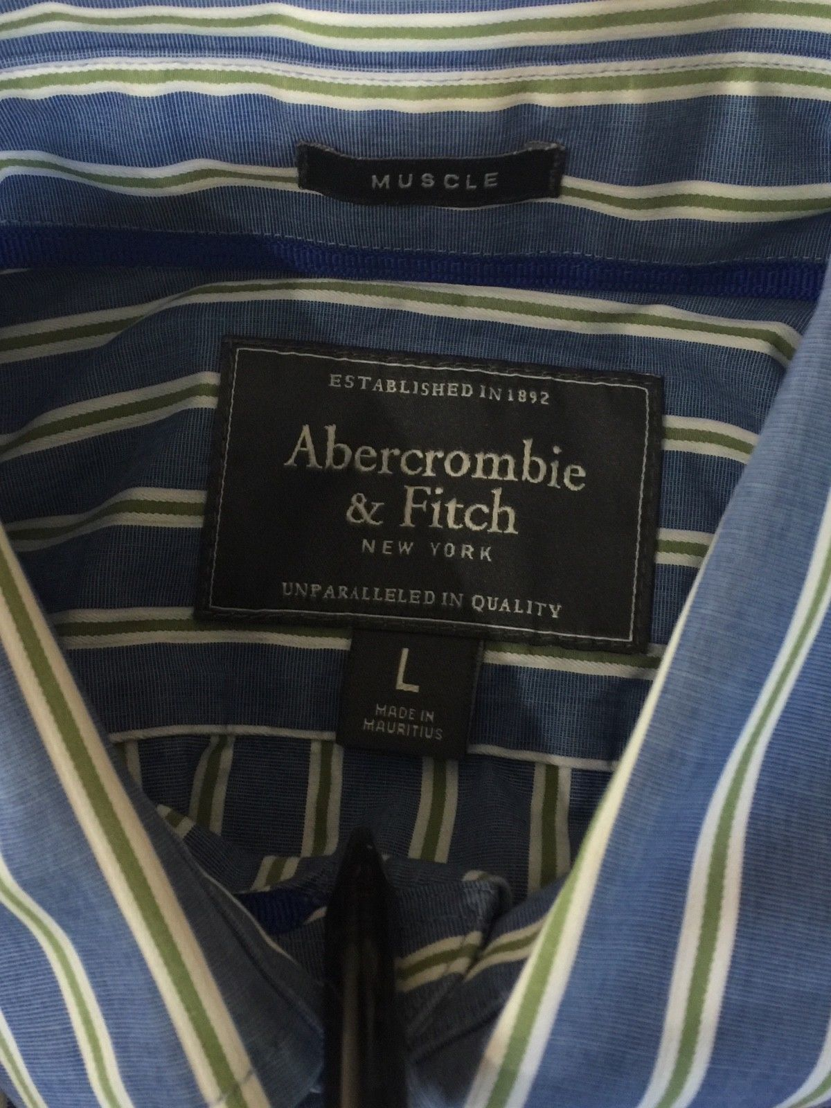 Abercrombie & Fitch Muscle Long Sleeve Button Down Shirt Blue Stripe Men's Large image 7